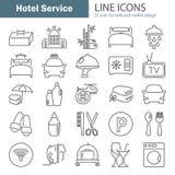 La ligne icônes de service hôtelier a placé pour le Web et la conception mobile Photos stock