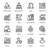 La ligne icônes industrielle et de construction de vecteur a placé 8 illustration stock