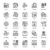 La ligne icônes industrielle et de construction de vecteur a placé 6 illustration libre de droits