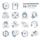 La ligne icônes minces de soutien et de centre d'appels a placé pour le Web et la conception mobile Photographie stock libre de droits