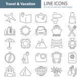 La ligne icônes minces de voyage et de vacances a placé pour le Web et la conception mobile Photo libre de droits