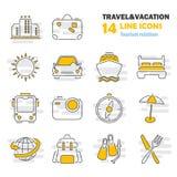 La ligne icônes minces de voyage et de vacances a placé pour le Web et la conception mobile Image stock