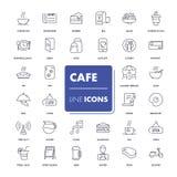 La ligne icônes a placé le café Photos libres de droits