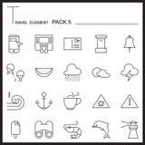 La ligne icône d'élément de voyage a placé 5 La plage et la mer amincissent des icônes Pac mono illustration stock