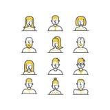 La ligne icônes d'avatar de personnes de style a placé dans des couleurs jaunes et noires sur le fond blanc Photo libre de droits