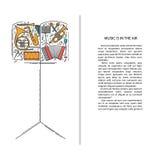 La ligne icônes d'instrument de musique dans le carnet forment Élément musical de brochure d'art Carte de voeux décorative de vec Photos libres de droits