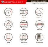 La ligne icônes de concept a placé la physique 3 Images stock