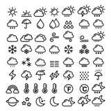 La ligne icônes de temps a placé - le grand paquet de 70 éléments graphiques de prévisions météorologiques, le soleil, nuage, plu illustration stock