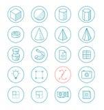 La ligne légère ico a placé pour 3d et apps de dessin Image libre de droits