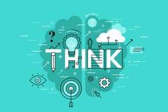 La ligne mince bannière plate de conception pour pensent la page Web, apprenant, la connaissance, innovation, créativité, solutio Photo libre de droits