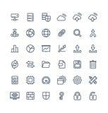 La ligne mince icônes de vecteur a placé avec de grands symboles d'ensemble de technologie de données et d'analytics illustration stock