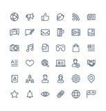 La ligne mince icônes de vecteur a placé avec le media social, symboles d'ensemble de réseau illustration stock