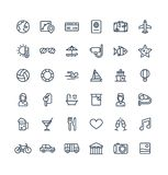 La ligne mince icônes de vecteur a placé avec le voyage, symboles d'ensemble de tourisme Vacances d'été, service de chambre d'hôt illustration de vecteur
