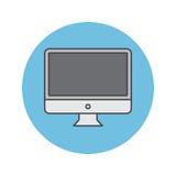 La ligne mince icône, écran d'ordinateur de bureau d'affichage à cristaux liquides a rempli vecto d'ensemble illustration stock