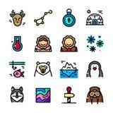 La ligne mince icônes arctiques a placé, dirige l'illustration Images libres de droits