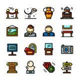 La ligne mince icônes de musée a placé, dirige l'illustration Image stock