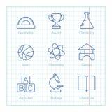 La ligne mince icônes de vecteur a placé pour l'éducation et la Science infographic Photographie stock