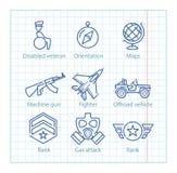 La ligne mince icônes de vecteur a placé pour l'infographics et l'UX/UI militaires Photo stock
