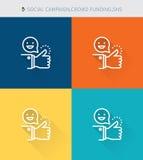 La ligne mince mince icônes a placé du placement de campaign&crowd et des sns sociaux, style simple moderne illustration de vecteur