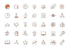 La ligne mince moderne icônes a placé de faire les éléments d'affaires, solution pour des clients Image libre de droits