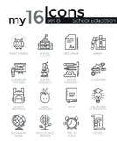 La ligne mince moderne icônes a placé des bases d'éducation d'école illustration libre de droits