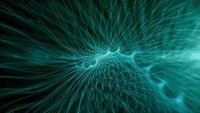 La ligne numérique de fond d'abrégé sur la poussière de particules intitule la texture animation de couleur verte illustration stock