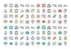 La ligne plate icônes colorées a placé des soins de santé et de la médecine Image libre de droits
