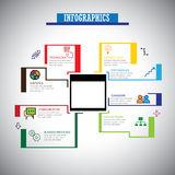La ligne plate liée au marché icônes d'infographics a placé - le vect de concept Photos stock