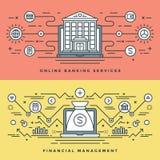 La ligne plate opérations bancaires et le concept de gestion financière dirigent l'illustration Icônes linéaires minces modernes  illustration stock