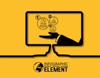 La ligne simple d'Infographic calibre de style avec des étapes partie l'écran d'options Images stock