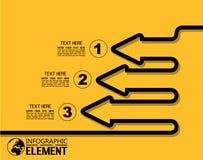 La ligne simple d'Infographic calibre de style avec des étapes partie la flèche d'options Photos libres de droits
