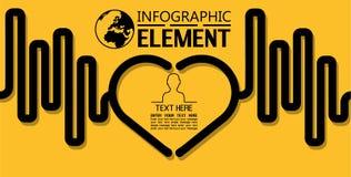 La ligne simple d'Infographic calibre de style avec des étapes partie le coeur d'options Image libre de droits