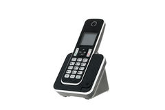 La ligne terrestre sans fil moderne DECT téléphonent avec la station de charge Photographie stock