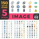 La ligne Web mobile à plat isométrique de l'image 150 de photo se reposent Images stock