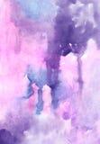 La lila de la acuarela colorea los backgrouns abstractos vivos del dibujo de lavado para el diseño Imágenes de archivo libres de regalías