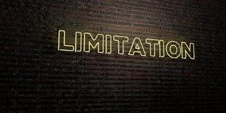 La LIMITAZIONE - insegna al neon realistica sul fondo del muro di mattoni - 3D ha reso l'immagine di riserva libera della sovrani royalty illustrazione gratis