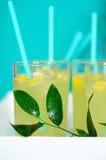 La limonada fresca con el limón vertió en los vidrios Fotografía de archivo libre de regalías