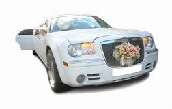La limousine blanche de mariage elle est   Images stock