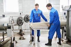 La limpieza de los trabajadores de los hombres consigue la alfombra de una lavadora automática y la lleva en el secador de ropa imagen de archivo libre de regalías