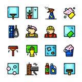 La limpieza de ventana mantiene iconos del vector ilustración del vector