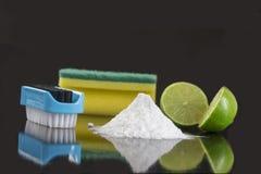 La limpieza natural equipa el bicarbonato del limón y de sodio fotografía de archivo