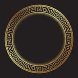 La linea arte disegnata a mano ornanent di stile di meandro greco antico dell'oro e la struttura rotonda del lavoro del punto pro illustrazione vettoriale