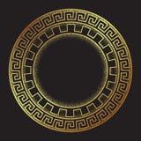 La linea arte disegnata a mano ornanent di stile di meandro greco antico dell'oro e la struttura rotonda del lavoro del punto pro royalty illustrazione gratis