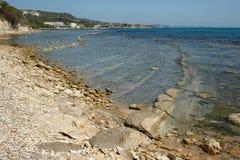 La linea costiera di Balchik Tuzla Tuzlata, Bulgaria Fotografia Stock