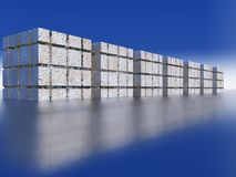 La linea del cubo riflessa sulla superficie Fotografia Stock