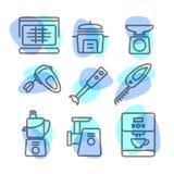 La linea della cucina del pacchetto dell'icona di strumenti su fondo bianco Immagine Stock