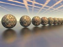 La linea della palla riflessa sulla superficie Fotografie Stock Libere da Diritti