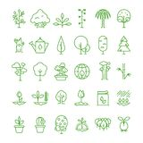 La linea della pianta, di pianta, del seme e di alberi vector le icone Simboli crescenti del germoglio royalty illustrazione gratis