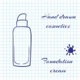La linea disegnata a mano cosmetici di arte sul taccuino incarta il fondo Crema di fondamento con una penna Immagini Stock