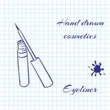 La linea disegnata a mano cosmetici di arte sul taccuino incarta il fondo Eye-liner disegnato con una penna Fotografia Stock